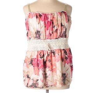 Torrid 3X Floral Lace Pink Boho Sleeveless Top